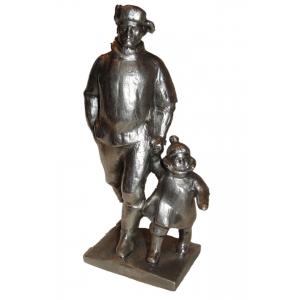 Папа с ребёнком (силумин, 60-70 годы)