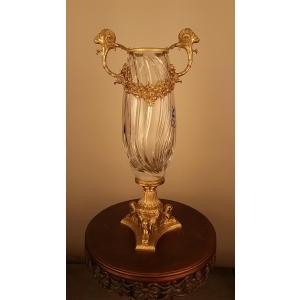 ваза хрусталь с бронзой узкая (011)