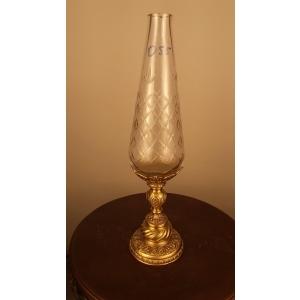 ваза узкая, кубок (055) хрусталь, бронза
