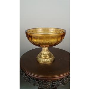 ваза хрустальная цветная с бронзой (139)