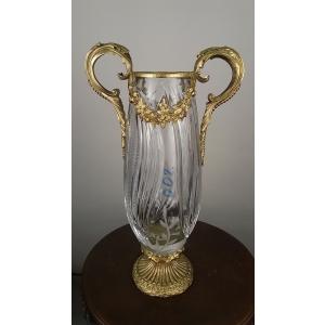 ваза хрустальная высокая с бронзовыми ручками (002)