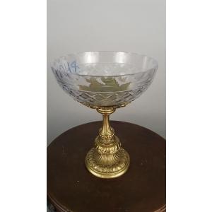 ваза для фруктов (048) хрусталь с бронзой