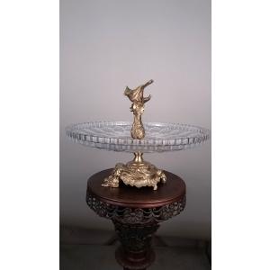 ваза с птичкой (128) хрусталь, бронза