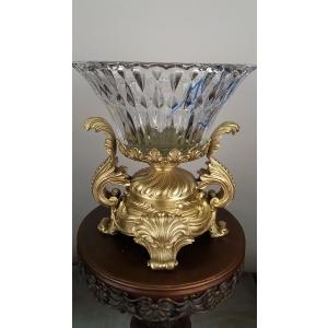 ваза (061А) бронза, хрусталь