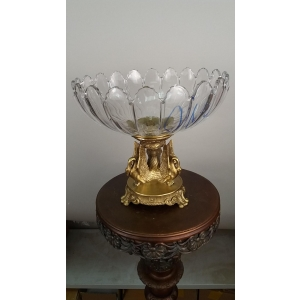 ваза глубокая Три лебедя (110) бронза, хрусталь