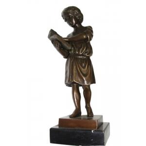 """статуэтка из бронзы """"Мальчик с книгой"""""""