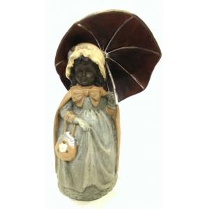 колокольчик Девочка с зонтиком (венская бронза)