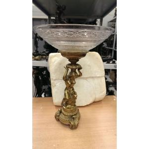 ваза Обнаженная девушка (037В) бронза, хрусталь