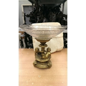 ваза Два ангелочка сидят (029В) бронза, хрусталь