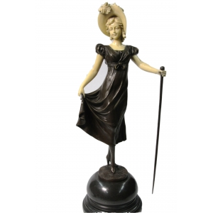 """статуэтка из бронзы """"Девушка с тростью"""" Ар-Деко"""