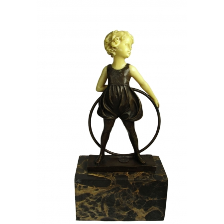 Девочка с обручем сзади (бронза с костью)