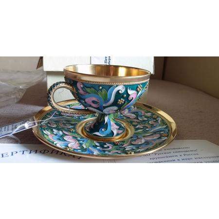 Чайная, кофейная пара (серебро, эмаль, позолота)