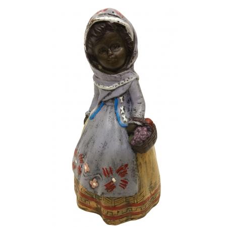 колокольчик Июнь. Девочка с полевыми цветами (венская бронза)