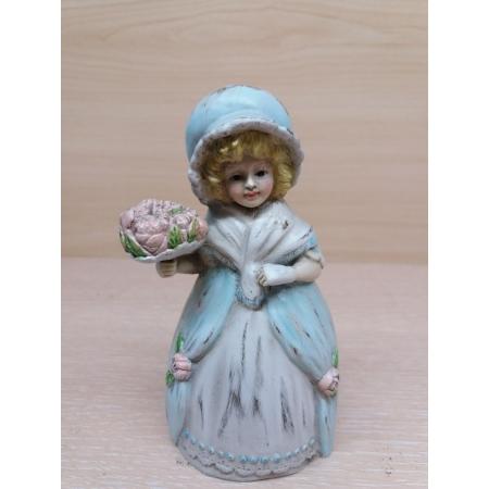 колокольчик Девочка с букетом роз. Венская бронза.