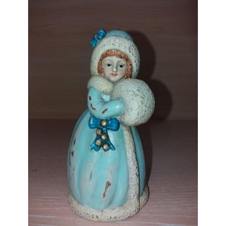 колокольчик Январь. Девочка с муфтой. Снегурочка. Венская бронза.